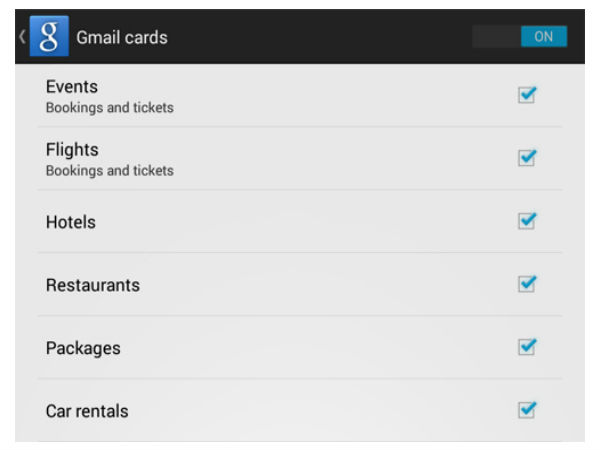 Gmail Cards & Reservations
