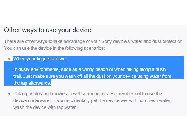 Sony Xperia Waterproof offcial website details on Waterproof usage